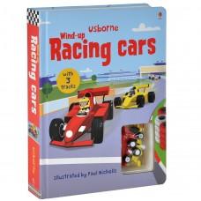 «Гоночные автомобили.Игрушка с заводом, дорожки. Серия Wind-up» книга-панорама на английском Сэма Таплина