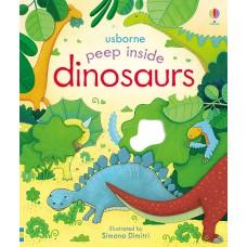 «Загляните к динозаврам. Для самых маленьких» книга с окошками на английском Анны Милборн, Симоны Димитри
