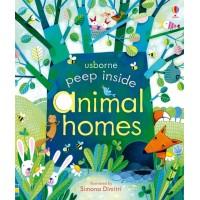 «Что в домах животных. Для самых маленьких» книга с окошками на английском Анны Милборн, Симоны Димитри