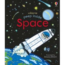 «Что в космосе. Для самых маленьких» книга с окошками на английском Анны Милборн, Симоны Димитри